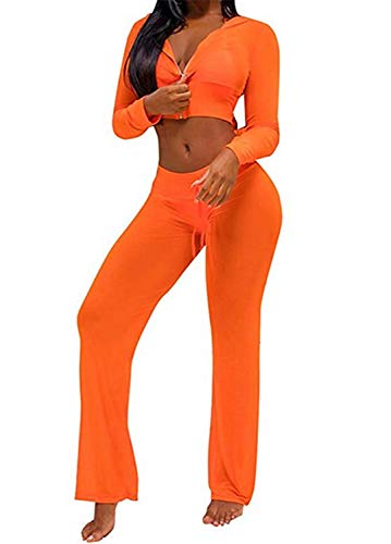 Women See Through Sheer Mesh Hoodie Crop Tops and Legging Pants Sexy 2pcs Bikini Swimsuit Cover-ups Beach Outfits (Orange, Small)