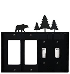 Eggss-83 Bear & Pine Trees Double Gfi & Double Switch Electric Cover