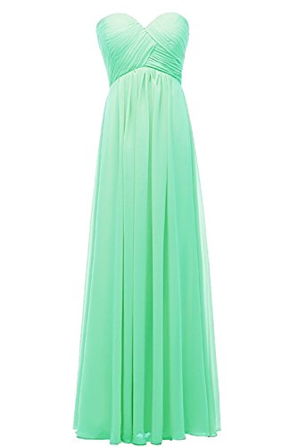 Chiffon Sweetheart Line DYS Dresses Long Bridesmaid A Women's Green Evening Dress pwnq574qU