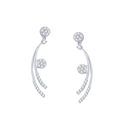 Giantti 14 carats Diamant pour femme Dangler Boucles d'oreilles (0.326 CT, VS/Si-clarity, Gh-colour)