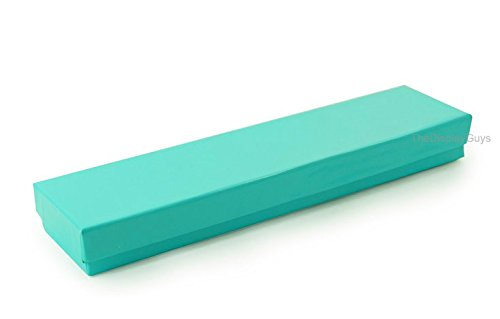 The Display Guys, Pack of 100 Teal Green 8x2x1 inches Cotton Filled Paper Jewelry Box Gift Display Case (#82)