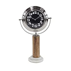 Deco 79 43554 Modern Metal Table Clock with Wooden Post, 4 W x 15 H, Silver, Black, Brown, White