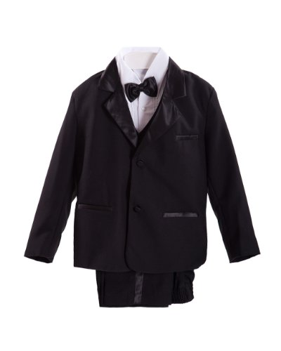 Black Baby Boys Tuxedo suit Set, Jacket, Shirt, Vest & Pants, Bowtie