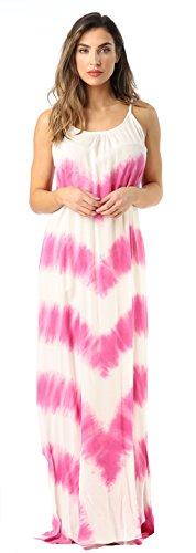 Riviera Sun 21772-PNK-L Summer Dresses Maxi Dress Sundresses for Women Pink/White