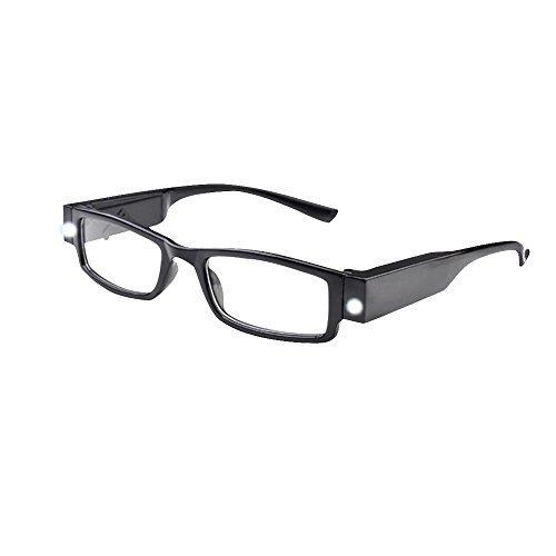 Unisex Black Illuminated Led Reading Glasses Rectangular Presbyopic Glasses Kanical