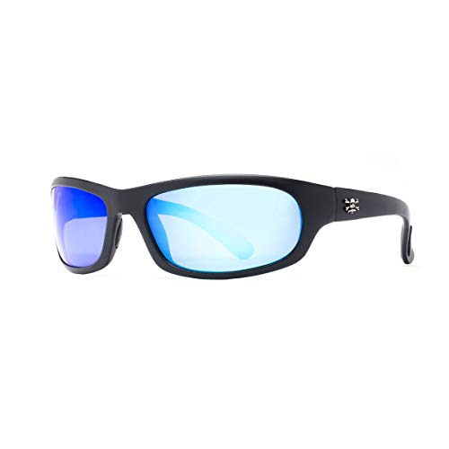 Calcutta Steelhead Sunglasses (Black Frame, Blue Mirror Lens)