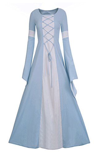 Meilidress Women Medieval Dress Lace Up Vintage Floor Length Cosplay Retro Long Dress Sky Blue -