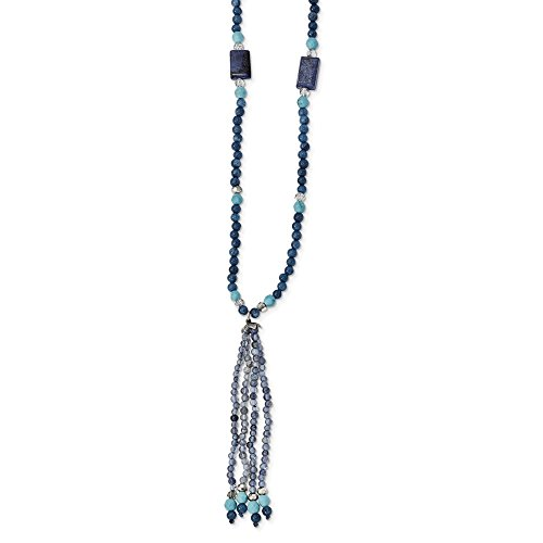 3.5mm Sterling Silver Crystal Iolite Lapis Bl. Quartz Recon.bl. Magnesite Drop Necklace - 30 Inch ()