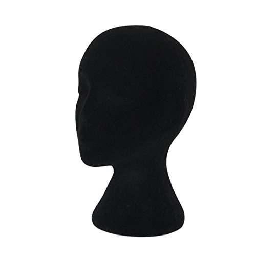 Appropriative Costume (Kemilove Male and Female Styrofoam Foam Flocking Head Model Wig Glasses Display Stand Black (Female -black))