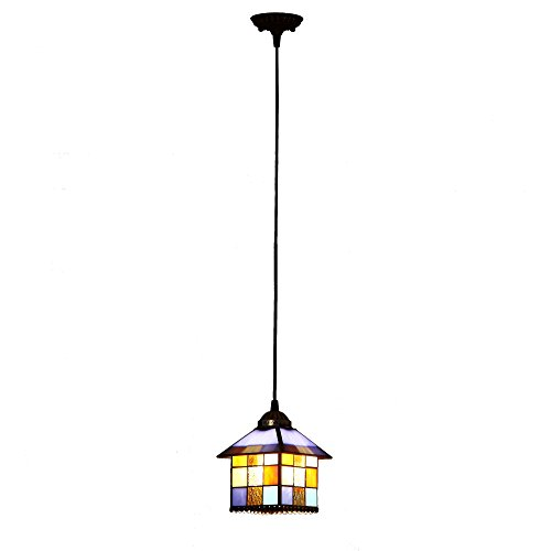 Bieye L10197 Mediterranean Tiffany Style Stained Glass Ceiling Pendant Fixture with 1-Light Multi-Colored