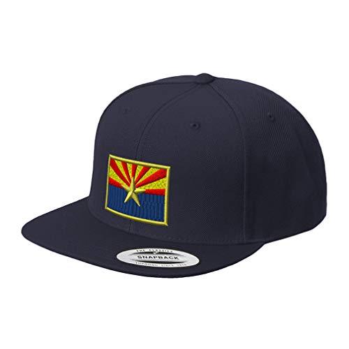 (Snapback Baseball Hat Arizona State Flag Embroidery City Name Acrylic Cap Snaps - Navy, Design Only)