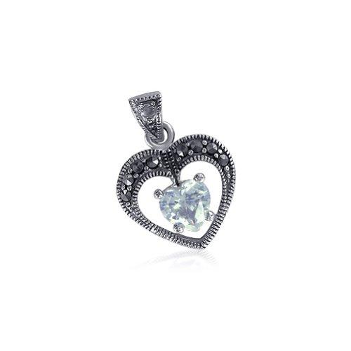 Gem Avenue 925 Sterling Silver Heart Shape Cubic Zirconia with Marcasite 22mm x 15mm (Marcasite Heart Shape)