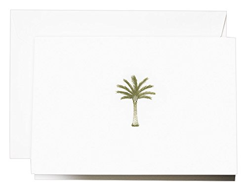 Palm Tree Stationary - Crane Engraved Palm Tree Note, Pearl White (CF1767)
