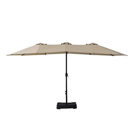 Garden and Outdoor Amazon Basics Oversize Outdoor Market Patio Umbrella with Base – 15 x 6.9 Feet, Beige patio umbrellas
