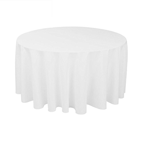 GFCC Round Polyester Table Cover Tablecloth 100% Polyester Tablecloth(White, (100% Polyester Table)