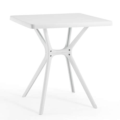 Furgle Patio Dining Table,Portable Outdoor Picnic Table,Small White Square Dining Table,Lightweight 28 x 28 Compact Size for Picnic, Camp, Beach, Patio 28 x 28 Table