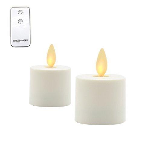 Maojia LEDティーライトFlameless Candles電池式:無香Moving Flameキャンドルauto-timer |lantern、パティオ、バス、ウェディング、reception|remoteコントロール含ま2パック1.44