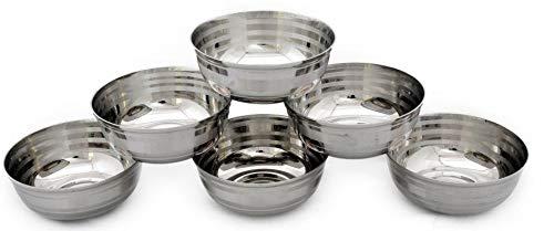 Dynore 6 pcs Stainless Steel sabji Bowls