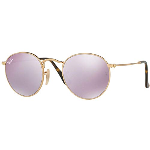 Ray-Ban RB3447N Round Flat Lenses Metal Sunglasses, Shiny Gold/Lilac Flash, 50 mm