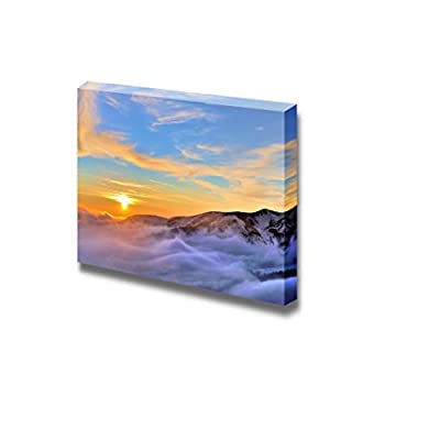 Canvas Prints Wall Art - Sunset in The Winter Mountains Landscape - 12