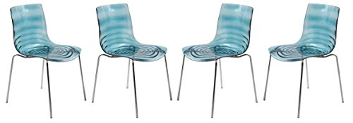 LeisureMod Water Ripple Design Modern Lucite Dining Side Chair with Metal Legs, Set of 4 (Transparent Blue) (Chairs Blue Lucite)
