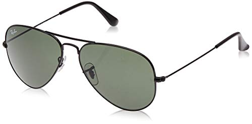 Ray-Ban RB3025 Aviator Sunglasses, Black/Green, 58 mm (Ray Ban Online Shop)