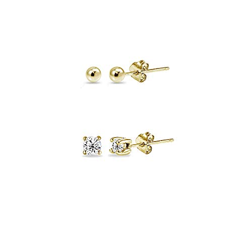 2 Pairs Gold Flash Sterling Silver 2mm Round CZ & Ball Bead Lightweight Unisex Cartilage Earrings Set