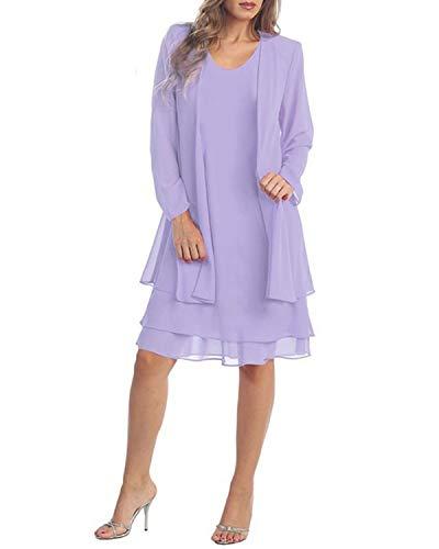 KENANCY Women's Plus-Size Chiffon Jacket Dress Mother of The Bride Dress Suit (Lavender, 2XL)