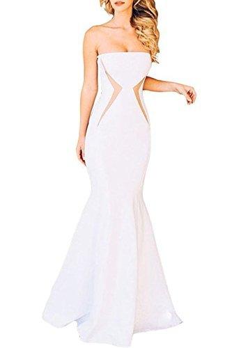 Para mujer blanco tirantes de la fiesta de baile vestido de cóctel desgaste vestido talla M