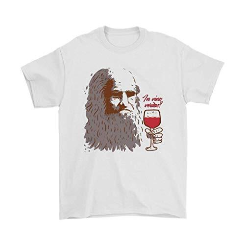 in vino Veritas | Leonardo da Vinci Wine Drinking T-Shirt for Men -