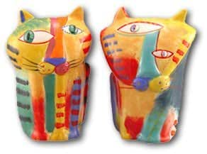 Muzeum Cat Multi-colored Cat Salt & Pepper Shakers