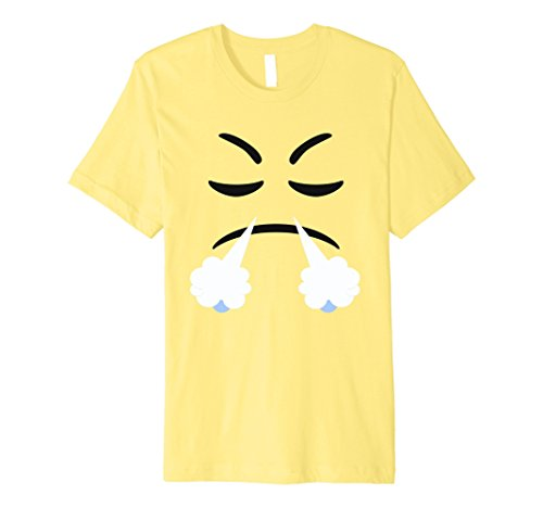 Devil Costume Steam (Mens Halloween Emoji Steam From Nose Costume Premium T-shirt Small Lemon)