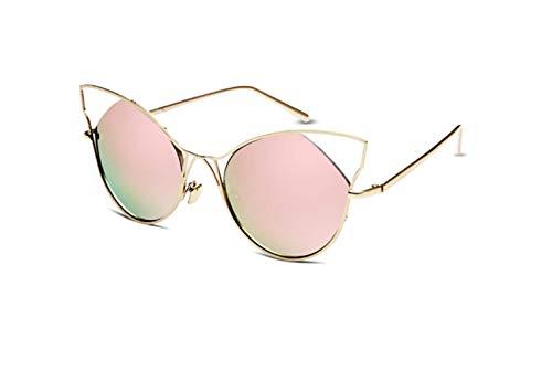 Ojos Sol Liwenjun De En Gato Moda Pareja Colores Gafas Grande Marco Nueva Polvo Retro Caja Personalidad Oro gfq0p