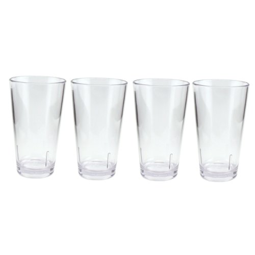 Height Pint Glass - Acrylic Beer Pint Glasses - Break Resistant - 16 oz: Set of 4