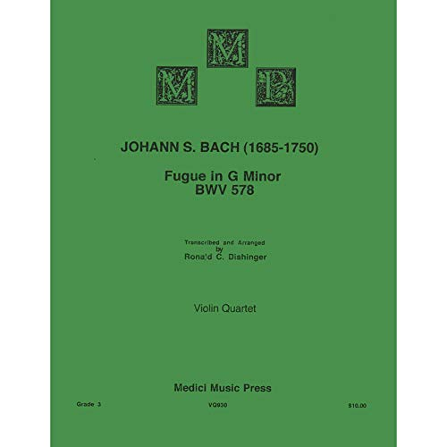 Bach, J.S. - Fugue in G Minor (BWV 578) - for Violin Quartet - arranged by Dishinger - Medici Music Press (Bach Fugue In G Minor Violin Sheet Music)