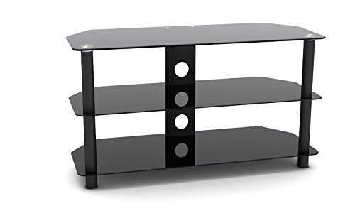 ProHT Glass & Metal TV Stand (05445) Supports Flat Panel TVs up to 42'' for DVD Players/Cable Boxes/Games Consoles/TV Accessories w/Three shelves, Chrome Legs, Black Tempered Glass, Cable management