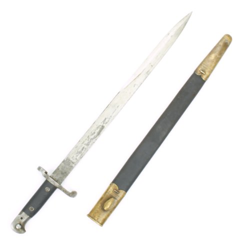 tini-Henry Rifle P-1887 MkIII Sword Bayonet with Brass Mounted Leather Scabbard (Sword Bayonet)