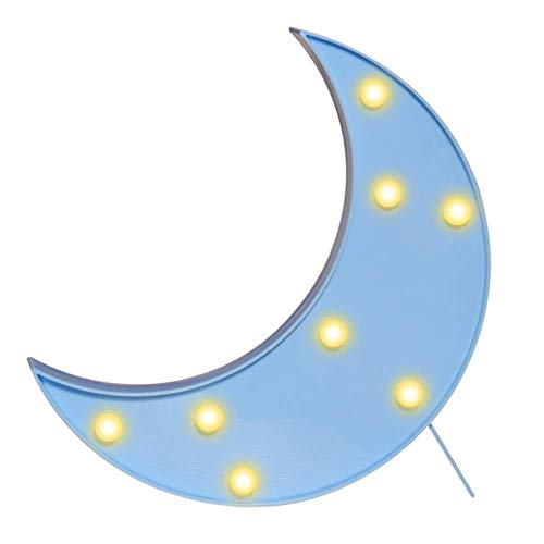 Decorative Crescent Moon Night Light, Led Plastic Moon Shaped Sign-Lighted Marquee Moon Lamp Wall Decor/Table Decor for Christmas,Birthday Party,Kids Room, Living Room, Wedding Party Decor(blue)