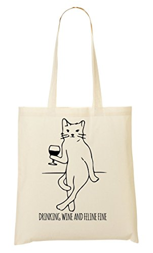 Cat Feline Funny Drinking Wine Tote Bag Shopping Bag
