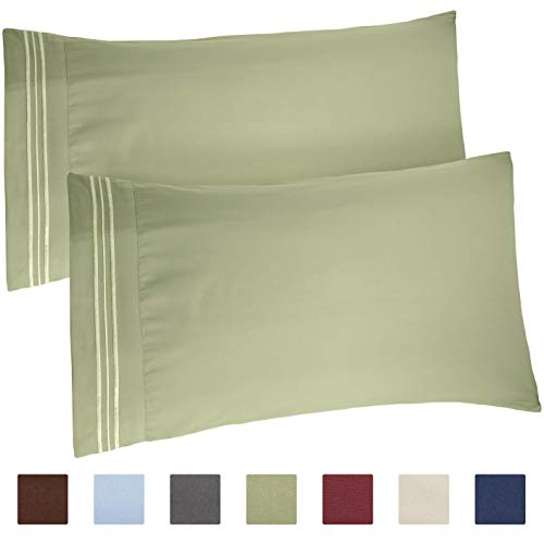 CGK Unlimited Queen Size Pillow Cases Set of 2 – Soft, Premium Quality Hypoallergenic Sage Green Pillowcase Covers – Machine Washable Protectors – 20x40, 20x36 & 20x48 Pillows for Sleeping 2 Pac