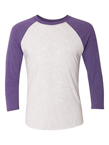 Next Level Apparel 6051 Unisex Tri-Blend 3 By 4 Sleeve Raglan - Purple Rush & Heather White, 2XL