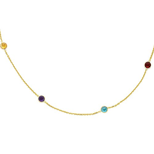 (14k Yellow Gold Multi Color Round Faceted Semi Precious Station Stones Chain Link - 16 Inches)