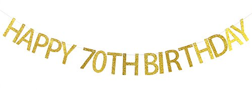 Happy 70th Birthday Banner Gold Glitter Party Bunting