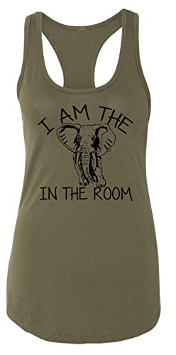 Ladies Tank Top I Am The Elephant in The Room Military Green with Black Print L