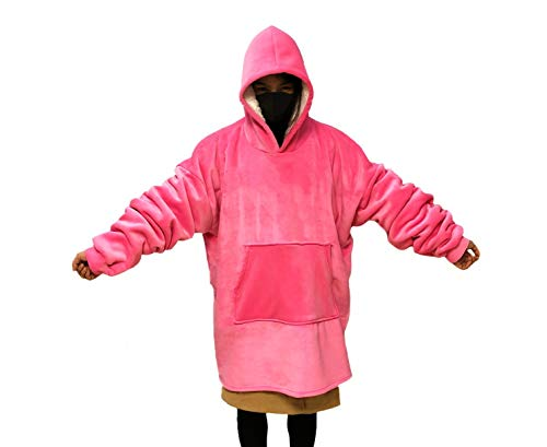 MONOBLANKS Giant Warm Oversized Blanket Sweatshirt One Size for All,Soft and Comfortable Large Front Pocket Blanket Sweatshirt - Pink Blanket Sweatshirt