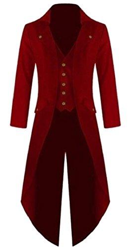 (Jaycargogo Mens Gothic Tailcoat Jacket Steampunk High Collar Coat Red M)