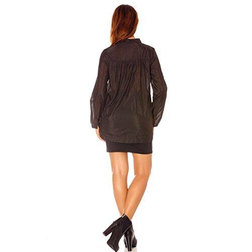 Miss Wear Line - Chemise noir transparente, col mao à strass et manche longue