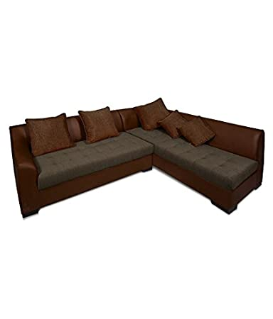 Lifestyle Solutions Zikra's Brown Sal Wood Leatherette 5 Seater L-Shaped Sofa Set For Living Room