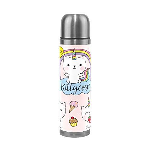 FOLPPLY Cute Cats Unicorn Stainless Steel Water Bottle Vacuum Thermos Cup Leak Proof Insulated Travel Coffee Mug 17 oz