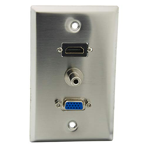 YinXiong 1 Gong Stainless Steel Solid Style HDMI VGA 3.5mm Stereo Audio Female To Female Wall Plate